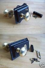 VINTAGE RETRO CLASSIC STYLE BLACK RIM DOOR LOCK AND BRASS RIM KNOB SET HANDLES