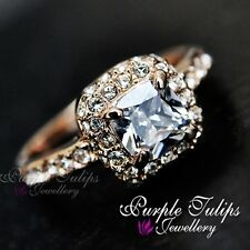 18K Rose Gold GP Classic Cushion Cut SWAROVSKI Crystals Engagement Wedding Ring