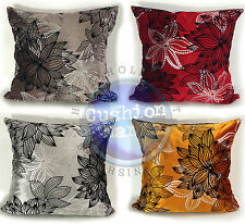 LARGE SET OF 4 CUT VELVET SILVER FLORAL CUSHIONS + COVERS 4 LOVELY COLOURS