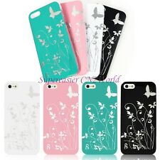 Slim Flower Butterfly Print Cover Transparent Bumper Hard Case For iPhone 5 5G