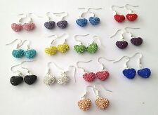 SPARKLY CRYSTAL HEART DROP EARRINGS 14mm  PAVE CLAY CZECH CRYSTAL HEARTS - NEW