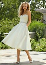 White Ivory Elegant Bridal Short Vintage Wedding Dress 6 8 10 12 14 16 Petticoat