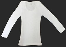 LADIES THERMAL LONG SLEEVE SPENCER VEST UNDERWEAR IN WHITE M-L-XL