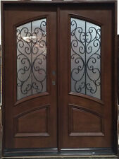 BLACK FRIDAY DEAL! Wood Iron Door Pre-hung &Finished DMH7619-5 Frosted Glass