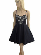 Womens Black Sparkly Embellished Strappy Evening Prom Party Dress Sz 8 10 12 14