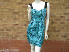 DRAMA QUEEN SNAKE PRINT TULIP DRESS BLUE / GRREN UK 8 10 12 RRP £69.00