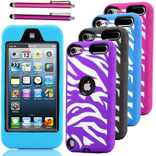 Zebra High Impact Armor Hard & Soft Rubber Hybrid Case iPod Touch 5th 5 Gen +Pen