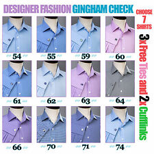 Assorted 2-Ply 80's Formal Business Gingham Check Dress Shirts Mens Work Apparel