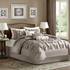 BEAUTIFUL 7 PC TAUPE IVORY WHITE BEIGE PURPLE PLUM MODERN TEXTURED COMFORTER SET