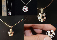 Soccer Ball Rhinestone Necklaces IN USA FREE SHIP Multiple item discount offered