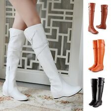 Women Knee High Boots Buckle Strap Side Zipper Sexy Ladies Shoes High Heel Boots