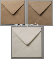 "100mm (4x4"") Square Brown Kraft Ribbed or Fleck Square Envelopes FREE UK P&P"