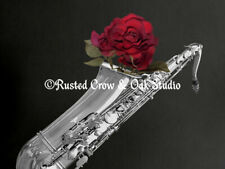 Black White Saxophone Red Rose Musical Instrument Art Print Matted Picture A508