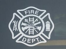 Maltese Cross Fire Department Firefighter Fireman Vinyl Decal Sticker 76005