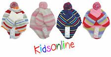 Girls Boys Baby Infant Striped Soft Woolly Winter Hat Mittens Set 3-24 Months