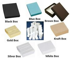 "100 Cotton Filled Boxes 3.5""x3.5""x 1"" for Gifts, Jewelry, etc. You Choose Color."