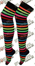 NEW LADIES WOMENS OVER THE KNEE STRIPED SOCKS LADIES THIGH HIGH OTK SOCKS