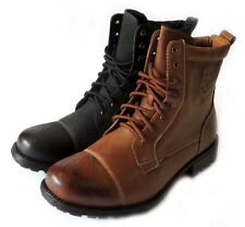 New Men's Premium Military Style Design Combat Lace-up Leather Boots Rubber Sole