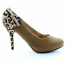 Womens Ladies Rounded Toe Leopard Print Diamante slim heel Bow Camel Court Shoes