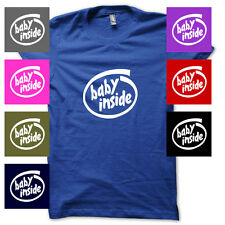 Baby Inside Pregnant Maternity Funny Shower Sign JUNIORS BABYDOLL T-SHIRT