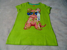 HANES Girls M L Tee Shirt Green With Cool Puppy Glasses Glitter