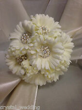 Vintage style Gerbera crystal & pearl  bouquet & collection  - any colour flower