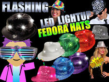 HALLOWEEN LED Flashing LightUp Sequin Fedora Hats - CHOOSE YOUR COLOR!