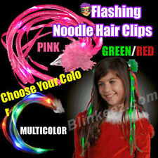 Light up HALLOWEEN FLASHING Blinking NOODLE HAIR CLIPS FUN LED HAIR EXTENSIONS!