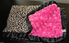 Leopard Print Minky Blanket – Light Hot Pink Black – Satin Trim – Cot Bed Pram