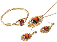 NEOGLORY VIOLA CZECH CRYSTAL GOLD PLATED RUBY RED JEWELLERY SET XMAS PROM TV19