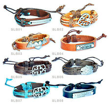 Mens Surfer Wristband Bracelet Genuine Leather and Hemp / Multiple Designs