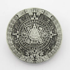 New Western Pewter AZTEC CALENDAR Mens Metal Belt Buckle Mayan Indian Leather