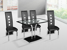 Panama Modern Tempered Glass Dining Table & With Optional 4 Faux Leather Chairs