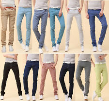 Mens Korean Stylish Pants Casual Skinny Slim Pants Jeans Trousers Denim 20 Color