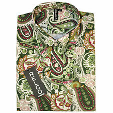 Relco Mens Multi Green Paisley Long Sleeved Shirt Mod Skin Retro Indie 60s 70s