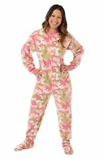 Pink Camo Fleece Adult Footed Pajamas Footie Drop Seat Camouflage PJs New