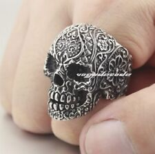 316L Stainless Steel Mens Skull Ring 3T003 Biker Ring