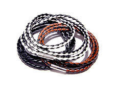Braided Leather Bracelet Wristband 4mm Triple Wrap with Stainless Steel Clasp