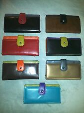 New ILI Leather Multi Colored Checkbook Wallet Clutch - 7 Variations - #7875