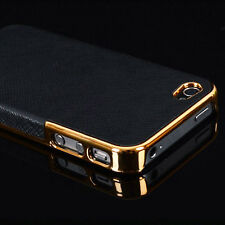 New Frame Luxury PU Leather Chrome Hard Back Case Cover For Apple iPhone 5 5s SE