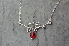 Love birds & heart necklace - lovebirds on a branch with red glass heart dangle