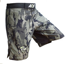 AQF Camo MMA Fight Shorts Green Camouflage UFC Cage Fight Grappling Boxing
