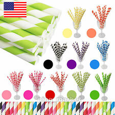 100 Pcs Colorful Striped Safe Drinking Paper Straws - Wedding Birthday Party US