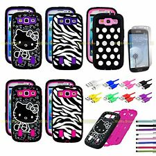 For Samsung Galaxy S3 Hybrid Case Best Impact Hard Cover Free Screen Protector