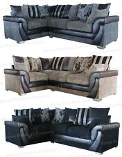 Lush Corner Sofa Jumbo Cord and Faux Leather Fabrics Left or Right Corner