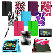Folio Leather Case Smart Cover for 2013 All-New Kindle Fire HD 7 +Protector/Film