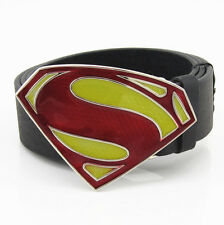 New Dc Comics Superman Fashion Red Yellow  Mens Metal Belt Buckle Leather Gift
