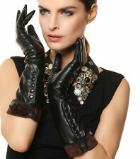 WARMEN Ladies Opera Long Soft Nappa Leather Button up Gloves for Snow Winter