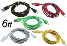 6ft Woven Braided MicroUSB Sync Data Charger Cable Samsung Galaxy S2 S3 S4 Note