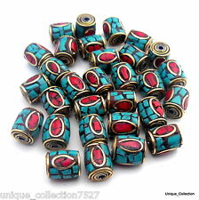 10mm Turquoise Coral Jewellery Brass Drum Beads - 10 Style Lot 2, 4 & 6pcs Nepal